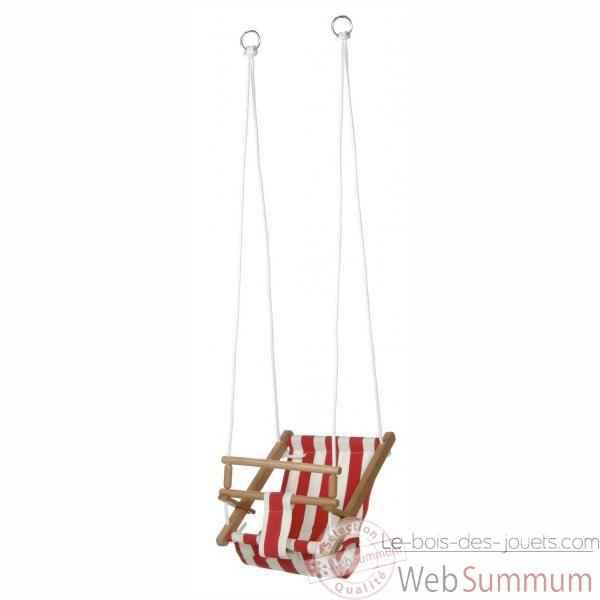 Jouet plein air bois, balançoire bébé siège étoffe rouge -1500r