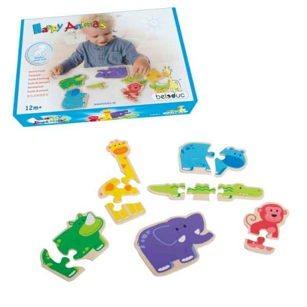 Puzzle en bois happy animal Beleduc -18011