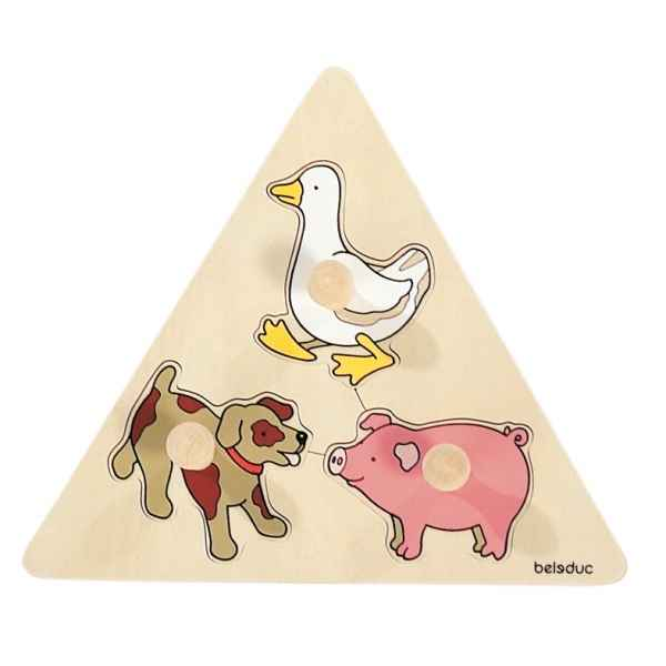 Puzzle triangle a boutons animaux Beleduc -10123