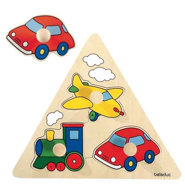 Puzzle triangle a boutons vehicules Beleduc -10122