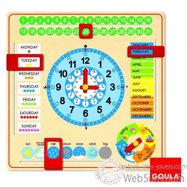 horloge calendrier anglais goula 51307 photos le bois des jouets de goula. Black Bedroom Furniture Sets. Home Design Ideas