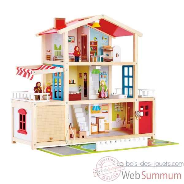 grande maison de poup es hape dans jouet avec accessoires sur le bois des jouets. Black Bedroom Furniture Sets. Home Design Ideas
