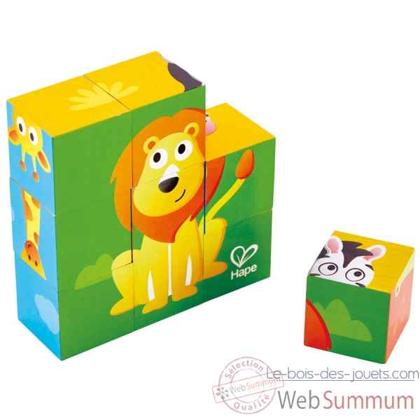 Puzzle cubes - animaux de la jungle Hape -E1619