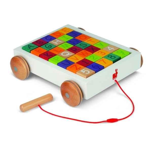 chariot 35 cubes alphabet janod j05583 dans jouets pousser sur le bois des jouets. Black Bedroom Furniture Sets. Home Design Ideas