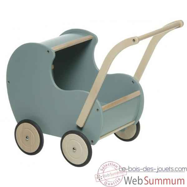 poussette en bois bleue retro 0756 de new classic toys dans meuble poup e. Black Bedroom Furniture Sets. Home Design Ideas