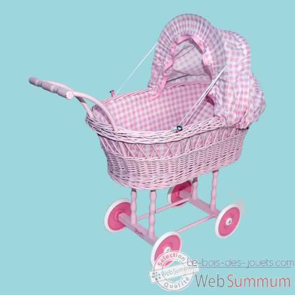 landau osier gm de luxe laqu garnissage vichy rose petitcollin dans tous les jouets. Black Bedroom Furniture Sets. Home Design Ideas