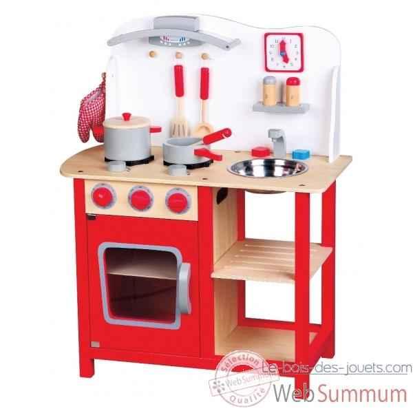 Cuisine en bois blanche et rouge 1055  Photos Le bois des jouets de