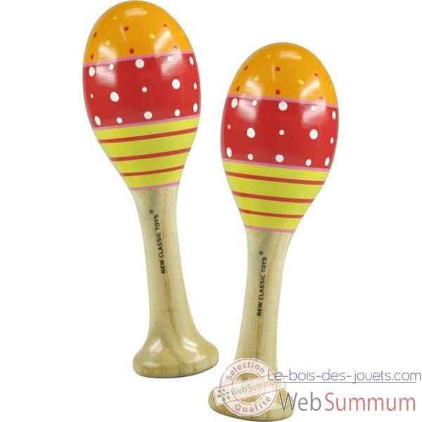 paire de maracas orange/rouge/jaune New classic toys -0495