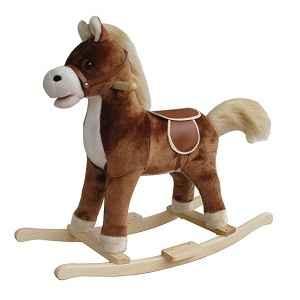 petit cheval bascule peluche marron fonc new classic toys sur le bois des jouets. Black Bedroom Furniture Sets. Home Design Ideas