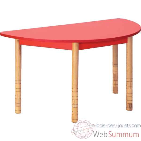 Table en couleurs demi-ronde rouge Novum -4478961