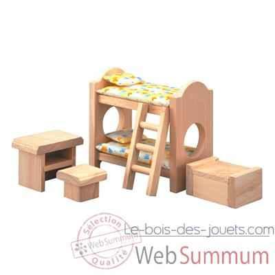 Chambre d'enfants en bois - Plan Toys dans Meubles Maison de Poupées Jouets en Bois