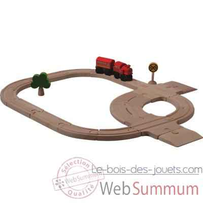 Video Circuit rail route en bois - Plan Toys 6204