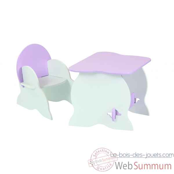 Duo table et fauteuil room studio bicolore blanc / rose -530113