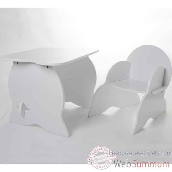 Duo table et fauteuil blancs Room studio -530020