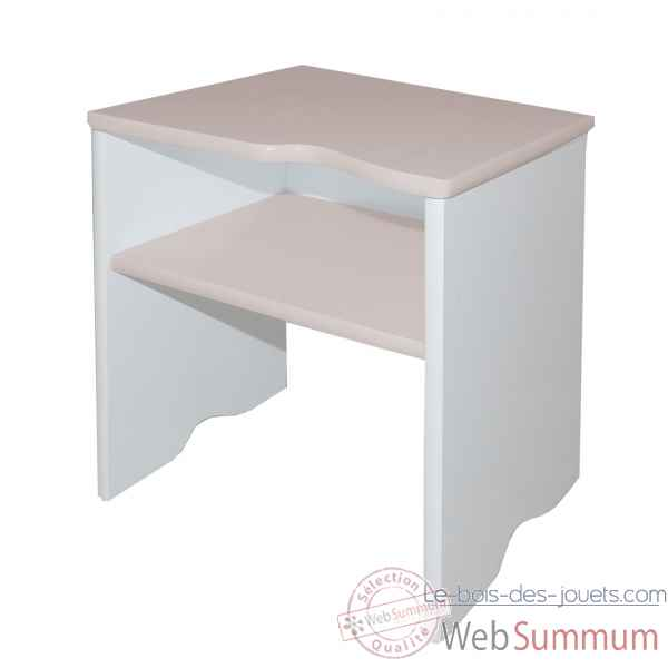 Mobilier 2 en 1 : tabouret, table de chevet - blanc/taupe Room studio -530174