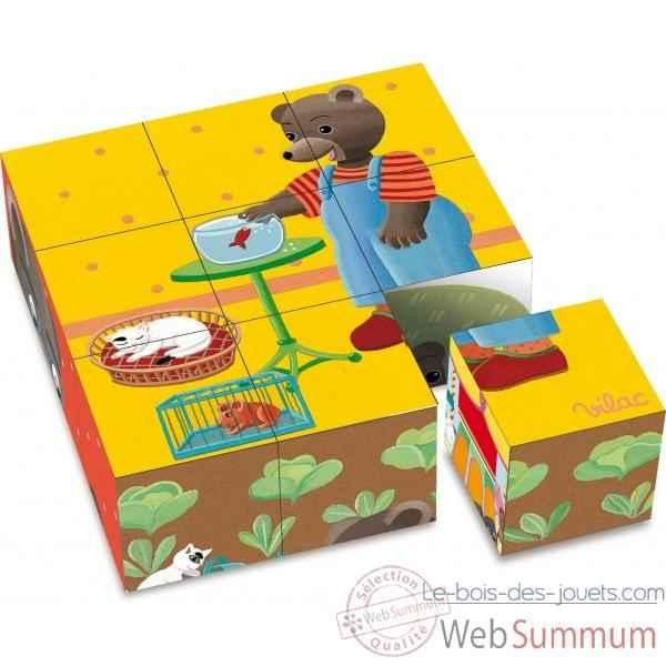 9 cubes en carton petit ours brun vilac 6062 dans jeux d. Black Bedroom Furniture Sets. Home Design Ideas